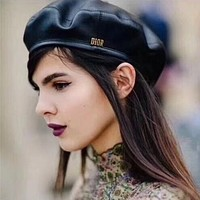 """Dior"" Women Casual Hat Fashion Classic Letter Logo Leather Beret Cap Painter Cap"