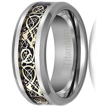 CERTIFIED 8MM Titanium Gold Plated Ring Wedding Band Celtic Dragon Design