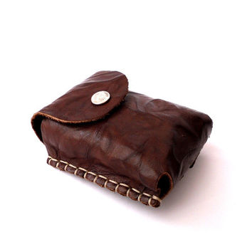 Leather Case Cigarette, Lighter pocket, Unique textured, Genuine Leather,brown
