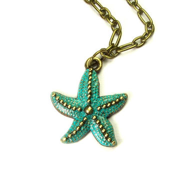 ON SALE turquoise starfish necklace - starfish necklace - starfish pendant - starfish jewelry - nautical necklace - nautical jewelry - star