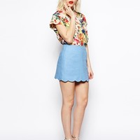 ASOS Linen Mini Skirt With Scallop Hem - Light blue