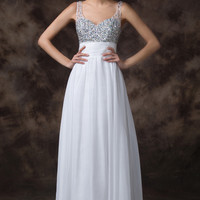 White Sequined Sheer Sleeveless Empire Waist Evening Dress