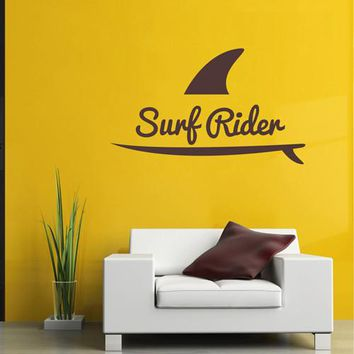 ik2559 Wall Decal Sticker surfer surf board shark racer living sports shop