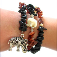Bangle Bracelet Cuff with Good Luck Elephants, Red Malachite, Natural Wood, Snowflake Jasper, Black Jasper, Mother of Pearl, ohm charm