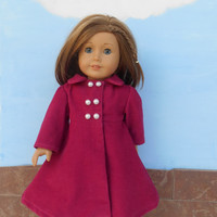18 Inch Doll Clothes, Pink Corduroy Coat, Dark Pink Doll Coat, Corduroy Doll Coat, Winter Doll Clothes