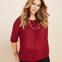 Sheer Crochet-Bib Blouse | Wet Seal+