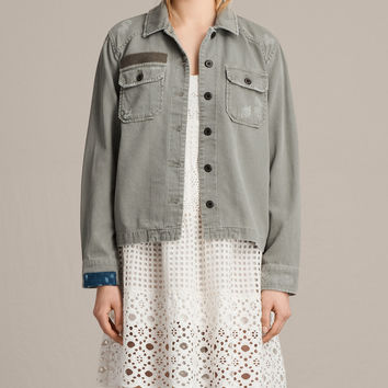 ALLSAINTS US: Womens Jemma Military Shirt (Khaki Green)