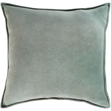 Cotton Velvet Throw Pillow - Sea Foam