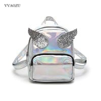 Punk Style Backpack for Women Laser Sequin Wings School Bag for Girls Angel Wings Cute Daypack Bag Bolso Mochila Feminina