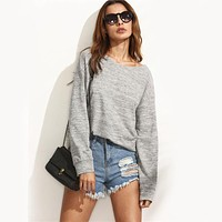 Women Casual Back Deep V Bandage Backless Long Sleeve Sweater Tops