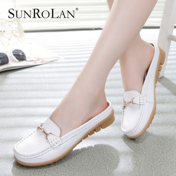SUNROLAN 2017 Women's Summer Sandals Slippers Flip Flops Leather Genuine Sandals Clogs Women's Shoes Plus Size