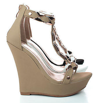Stephy90 Taupe By Delicacy, Open Toe Gold Plated T-Strap Platform Wedge Sandals