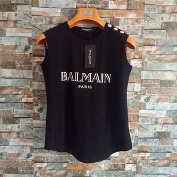 balmain women simple print letter sleeveless vest buttons decoration t shirt cotton tops