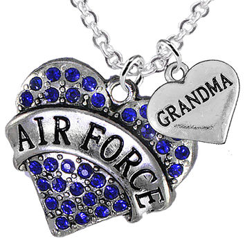Air Force Grandma Heart Charm Necklaces