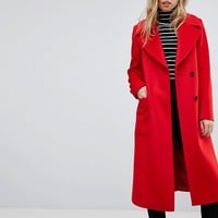 Reiss Longline Coat With Side Split Details at asos.com