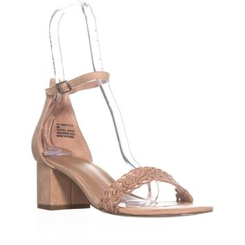 AR35 Brexley Ankle Strap Block Heel Sandals, Nude, 7 US