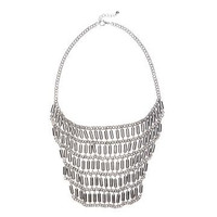 Cylinder&Chain Bib Necklace in Silver