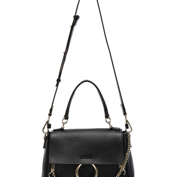 Chloe Small Faye Calfskin & Suede Day Bag in Black | FWRD