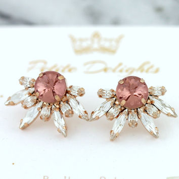 Bridal Blush Earrings, Bridal Pink Blush Earrings, Swarovski Blush Earrings, Swarovski Bridal Earrings, Bridesmaids Earrings, Blush Studs