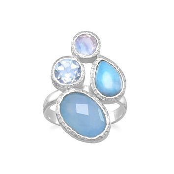 Sterling Silver Chalcedony, Larimar, Topaz and Moonstone Ring