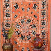 Elephant Orange Dye Tapestry Indian Wall Hanging Tapestry Bohemian SBS041ORG