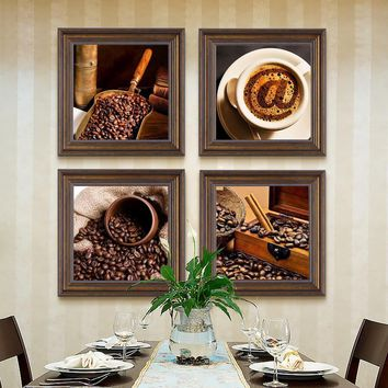 Coffee and Coffee Bean Canvas Prints Modern Wall Art spray painting  for Kitchen Decoration  Modular Pictures for home decro