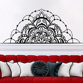 Half Mandala Flower Wall Decals Headboard Bedroom Vinyl Sticker Interior Ornament Marrocan Pattern Decal Boho Bohemian Decor NV78 (16x38)