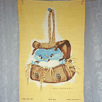 Vintage Irish Linen Tea Towel This is Great Two Birds in Satchel by Richlin Kitchen Dish Towel Hostess Towel
