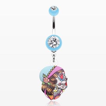 Dia De Los Muertos Retro Skull Belly Button Ring