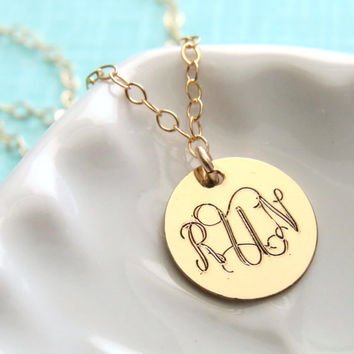 SALE-FREE SHIPPING- Run Monogram Engraved Necklace, in Gold Fill, Runners Necklace, Run Jewelry, Running, Run Engraved Necklace, Script engr