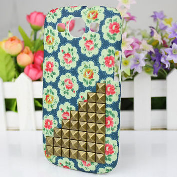 Little Rose  Hard Shell And Bronze Stud  for Samsung Galaxy S3 i9300