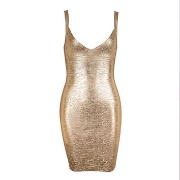 Heidy- Bodycon Metallic V Neck Bandage Dress
