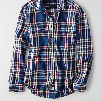 AEO Flannel Boyfriend Shirt , Navy