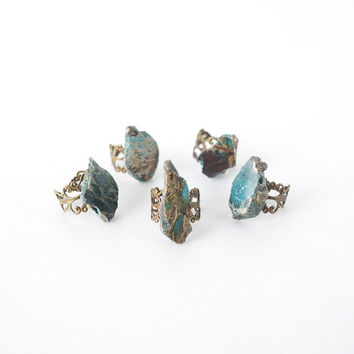 Turquoise Raw Stone Ring on Filigree Adjustable Ring, December Birthstone, Gift For Best Friends