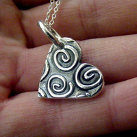 Heart Pendant with spiral detail , Small heart charm with swirl texture