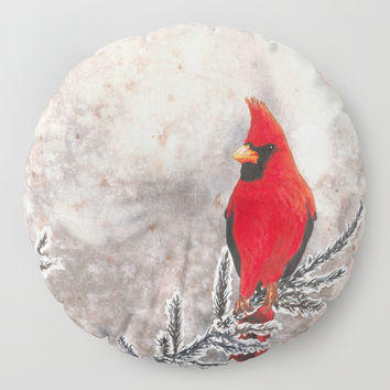 The Red Cardinal in winter Floor Pillow by Savousepate