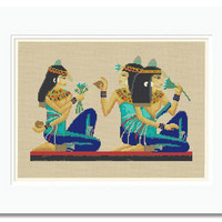 Egyptian Women with Metopion -  a cross stitch pattern in PDF - INSTANT DOWNLOAD