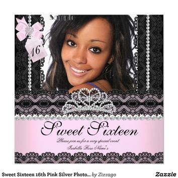 Sweet Sixteen 16th Pink Silver Photo Black Lace Custom Invitations from Zazzle.com