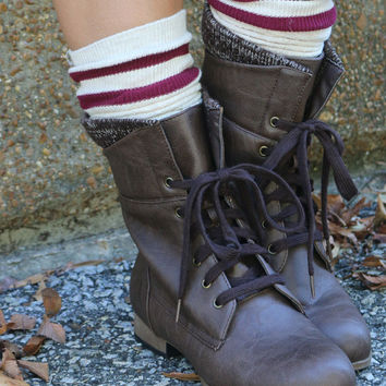 Modern Games Oatmeal Cable Knit Rugby Sock With Contrast Stripe