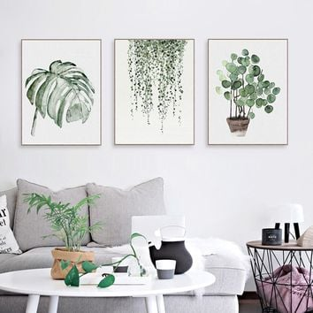 Watercolor Green Plants Monstera Nature Posters and Prints Nordic Style Living Room Wall Art Pictures Home Decor Canvas Painting