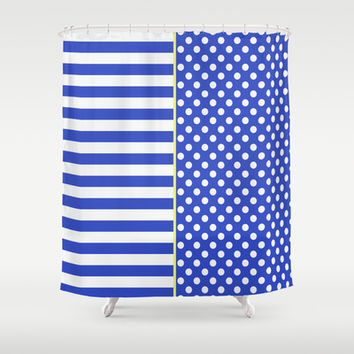 Royal Blue Combination Stripes And Polka Dots Shower Curtain by Inspired By Fashion