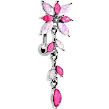 White Pink Gem Frosted Flower Trail Top Mount Dangle Belly Ring