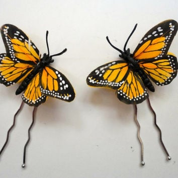 iMonarch Butterfly Hair Picks, Wedding Hair Pins, Whimsical Butterflies, Hair Pins for Up Dos, Afros, One Pair