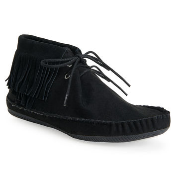 Faux Suede Fringed Moccasin Bootie