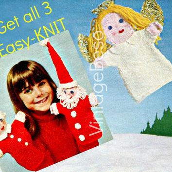 EASY KNIT Hand Puppets 1970s Vintage KNITTING Pattern Mr and Mrs Santa Claus and the lovely Floating Angel Free Gift Instant Download Pdf