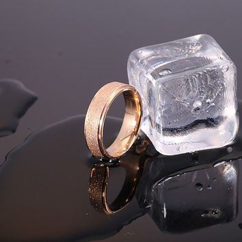 6mm Frosted Gold Stainless Steel Ring Size 11