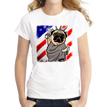 New Fashion Independence Day Pug funny design women t-shirt Statue of Liberty Pug USA flag prnted short sleeve casual lady tops