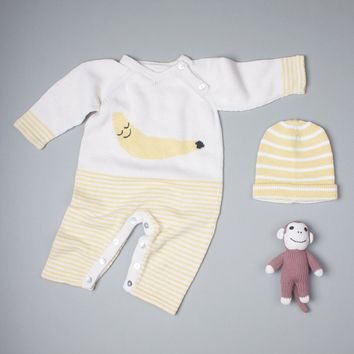 Organic Cotton Banana Romper Set With Monkey Rattle and Hat