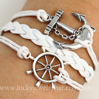 anchor bracelet , rudder bracelet, white wax cords, white braided leather bracelet