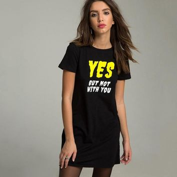 Letter Printed Yes T-Shirt